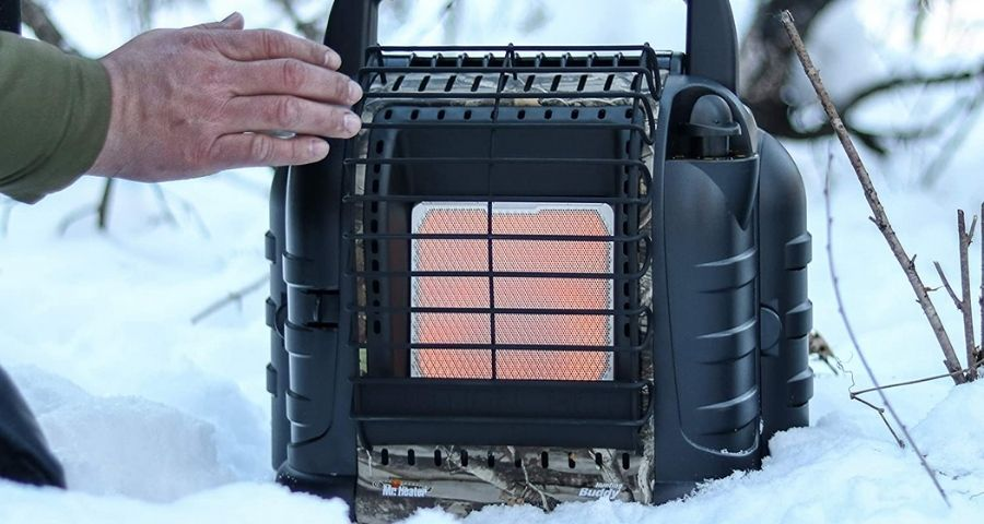 Mr. Heater propane heater for winter camping