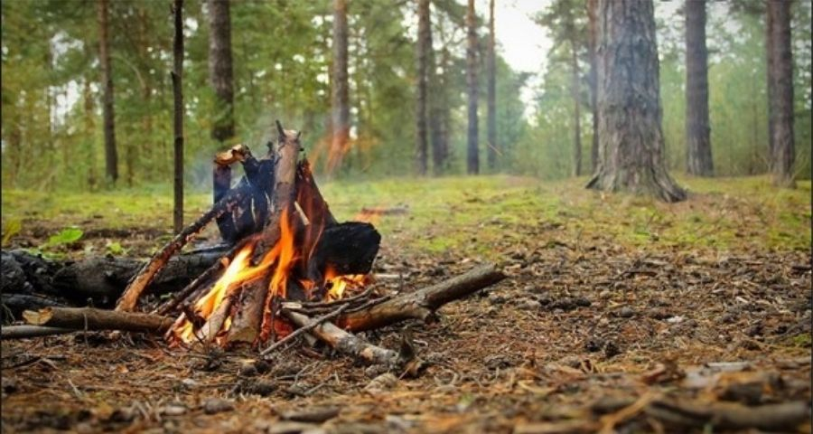 How to start campfire in rain
