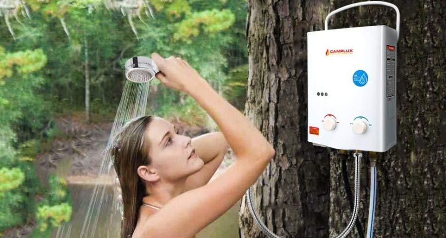 propane heated shower for winter camping