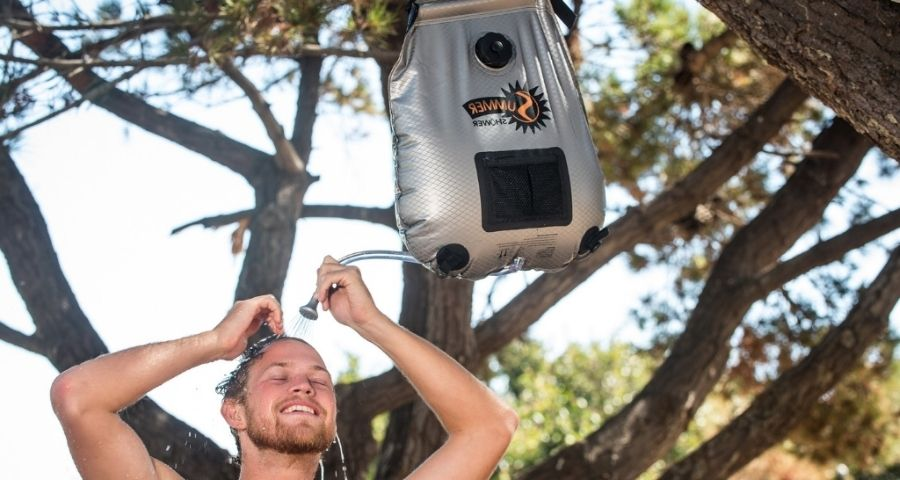 solar shower for winter camping