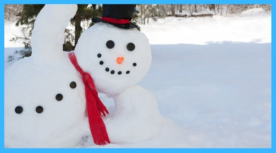 build a snow man during winter camping