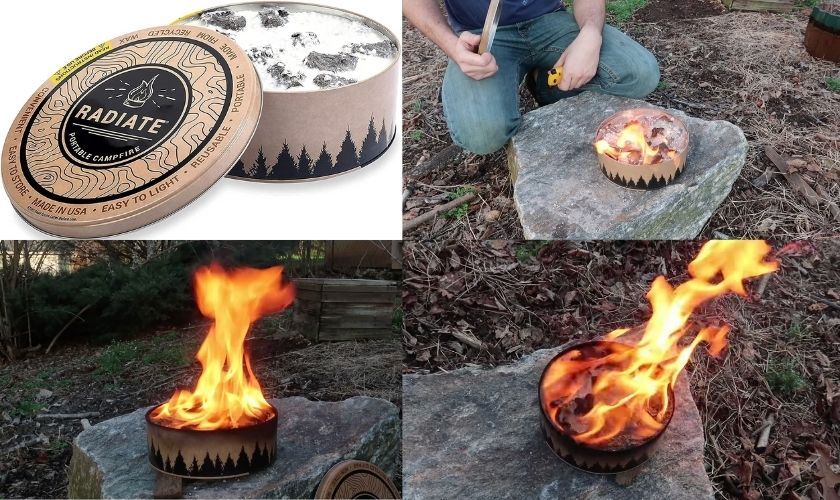 use wax and paper tin candles as campfire alternative during burn ban